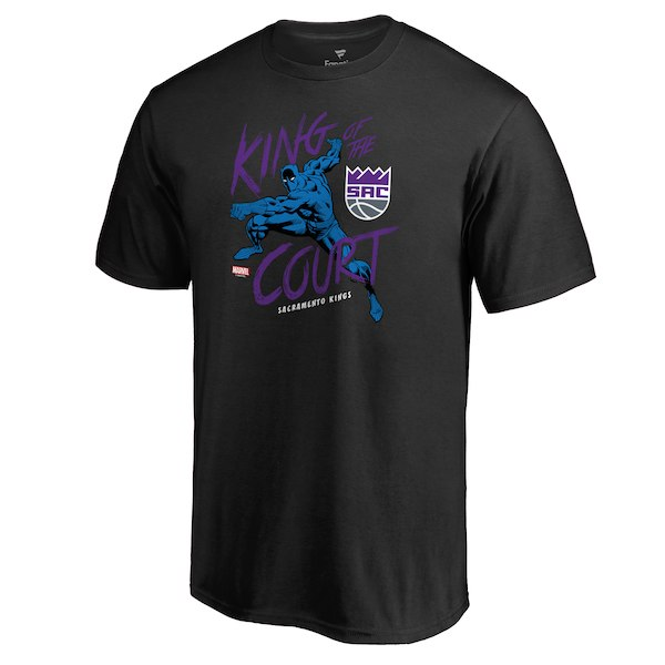 Men's Sacramento Kings Fanatics Branded Black Marvel Black Panther King of the Court T-Shirt