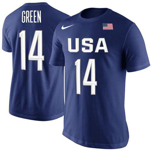 Team USA 14 Draymond Green Basketball Nike Rio Replica Name & Number T-Shirt Royal