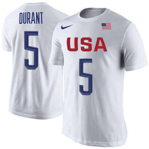 Team USA 5 Kevin Durant Basketball Nike Rio Replica Name & Number T-Shirt White