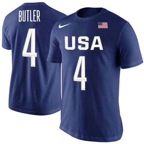 Team USA 4 Jimmy Butler Basketball Nike Rio Replica Name & Number T-Shirt Royal