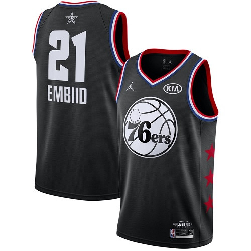 76ers #21 Joel Embiid Black Basketball Jordan Swingman 2019 All-Star Game Jersey