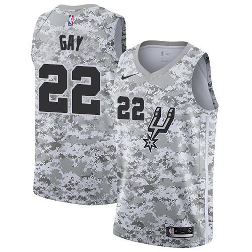 Men s Nike San Antonio Spurs  22 Rudy Gay White Camo Basketball Swingman  Earned Edition Jersey 2f86a1d22