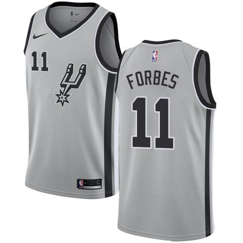 70b1f99be Men s Nike San Antonio Spurs  11 Bryn Forbes Silver Basketball Swingman  Statement Edition Jersey