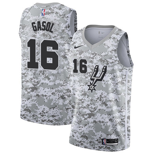 c245a85d5ad Men's Nike San Antonio Spurs #16 Pau Gasol White Camo Basketball Swingman  Earned Edition Jersey