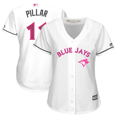 Women's Toronto Blue Jays #11 Kevin Pillar White Mother's Day Cool Base Stitched MLB Jersey