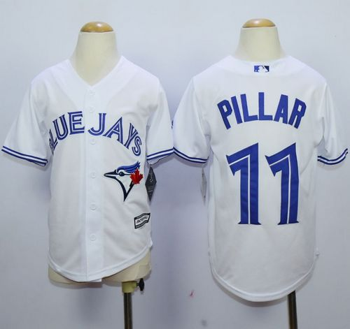 Youth Toronto Blue Jays #11 Kevin Pillar White Cool Base Stitched MLB Jersey