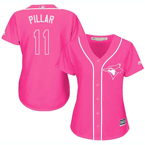 Women's Toronto Blue Jays #11 Kevin Pillar Authentic Pink Fashion Cool Base Baseball Jersey