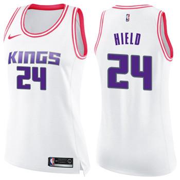 Women's Sacramento Kings #24 Buddy Hield White Pink NBA Swingman Fashion Jersey