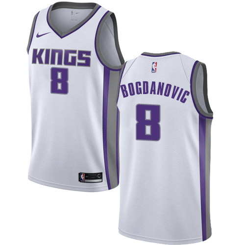 Women's Sacramento Kings #8 Bogdan Bogdanovic White Basketball Swingman Association Edition Jersey