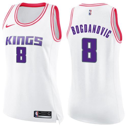 Women's Sacramento Kings #8 Bogdan Bogdanovic White Pink Basketball Swingman Fashion Jersey