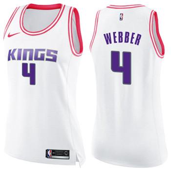 Women's Sacramento Kings #4 Chris Webber White Pink NBA Swingman Fashion Jersey