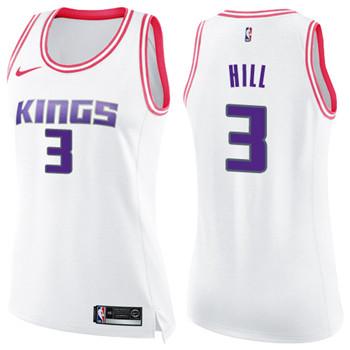 Women's Sacramento Kings #3 George Hill White Pink NBA Swingman Fashion Jersey