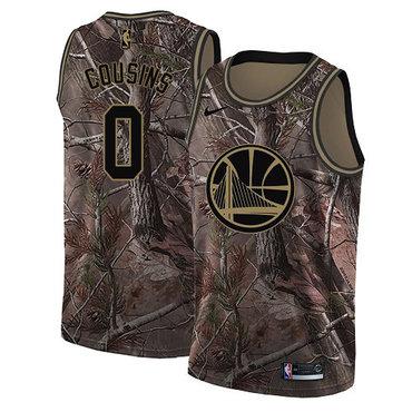 Men's Nike Golden StateWarriors #0 DeMarcus Cousins Camo NBA Swingman Realtree Collection Jersey