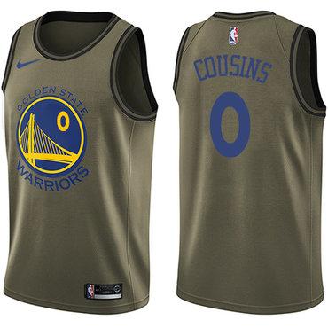 Men's Nike Golden StateWarriors #0 DeMarcus Cousins Green NBA Swingman Salute to Service Jersey