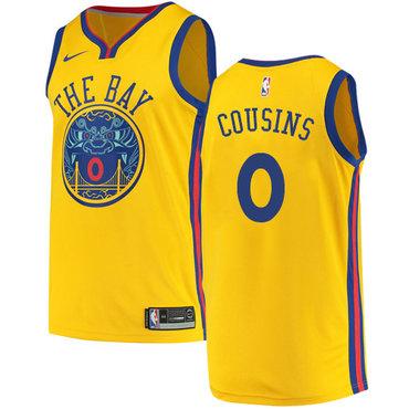 Men's Nike Golden StateWarriors #0 DeMarcus Cousins Gold NBA Swingman City Edition Jersey