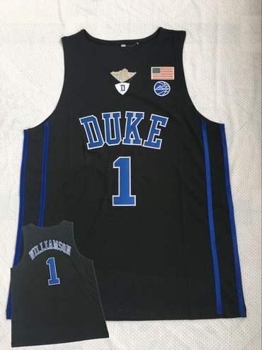 a7528806 Duke Blue Devils 1 Zion Williamson Black College Basketball Jersey