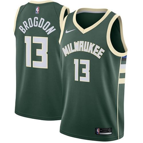 Youth Milwaukee Bucks #13 Malcolm Brogdon Green Basketball Swingman Icon Edition Jersey