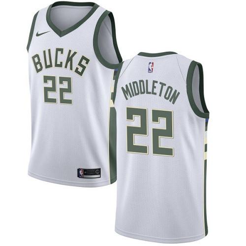 Youth Milwaukee Bucks  22 Khris Middleton White Basketball Swingman  Association Edition Jersey 6333f3419
