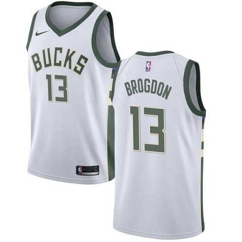 Youth Milwaukee Bucks  13 Malcolm Brogdon White Basketball Swingman  Association Edition Jersey 6ca2618b9