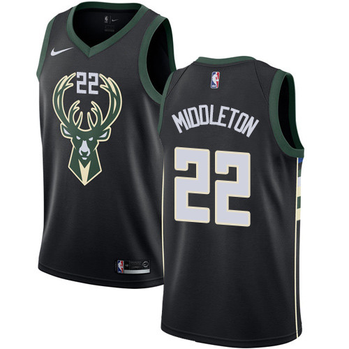 Youth Milwaukee Bucks  22 Khris Middleton Black Basketball Swingman  Statement Edition Jersey 8a88294ff
