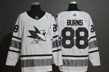 Men's San Jose Sharks 88 Brent Burns White 2019 NHL All-Star Game Adidas Jersey