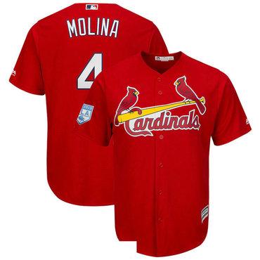 Men's St.Louis Cardinals 4 Yadier Molina Red 2019 Spring Training Cool Base Jersey