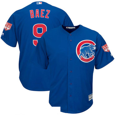 Men's Chicago Cubs 9 Javier Baez Royal 2019 Spring Training Cool Base Jersey