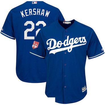 Men's Los Angeles Dodgers 22 Clayton Kershaw Royal 2019 Spring Training Cool Base Jersey