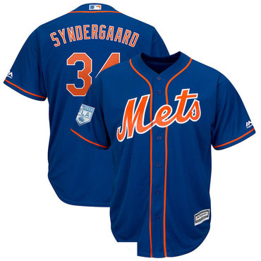 Men's New York Mets 34 Noah Syndergaard Royal 2019 Spring Training Cool Base Jersey
