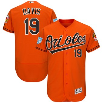Men's Baltimore Orioles 19 Chris Davis Majestic Orange 2019 Spring Training Flex Base Player Jersey