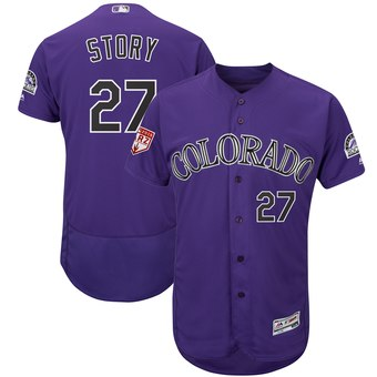 Men's Colorado Rockies 27 Trevor Story Majestic Purple 2019 Spring Training Flex Base Player Jersey