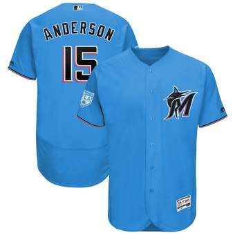 Men's Miami Marlins 15 Brian Anderson Majestic Blue 2019 Spring Training Flex Base Player Jersey