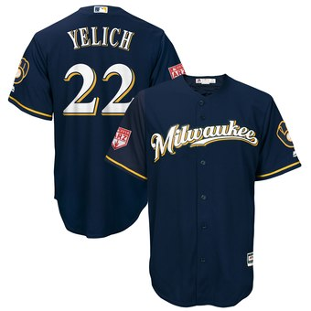 Men's Milwaukee Brewers 22 Christian Yelich Majestic Navy 2019 Spring Training Cool Base Player Jersey