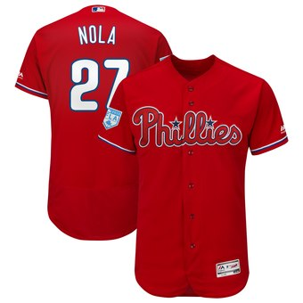 Men's Philadelphia Phillies 27 Aaron Nola Majestic Scarlet 2019 Spring Training Flex Base Player Jersey