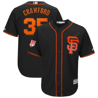 Men's San Francisco Giants 35 Brandon Crawford Majestic Black 2019 Spring Training Cool Base Player Jersey