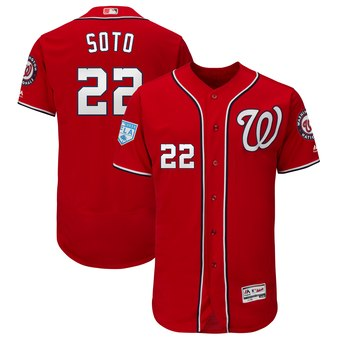 Men's Washington Nationals 22 Juan Soto Majestic Scarlet 2019 Spring Training Flex Base Player Jersey