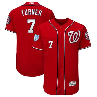 Men's Washington Nationals 7 Trea Turner Majestic Scarlet 2019 Spring Training Flex Base Player Jersey