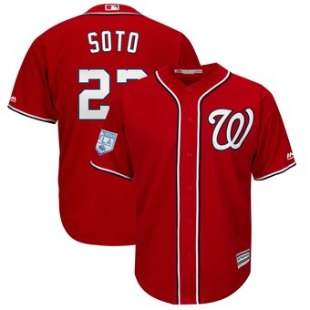 Men's Washington Nationals 22 Juan Soto Majestic Scarlet 2019 Spring Training Cool Base Player Jersey