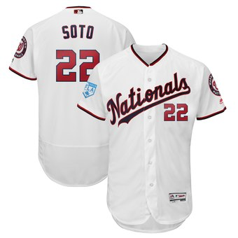 Men's Washington Nationals 22 Juan Soto Majestic White 2019 Spring Training Flex Base Player Jersey