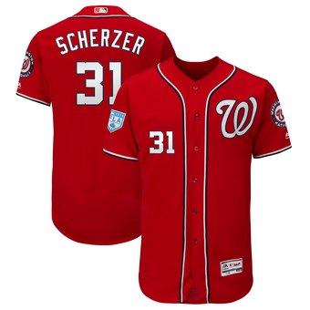 Men's Washington Nationals 31 Max Scherzer Majestic Scarlet 2019 Spring Training Flex Base Player Jersey