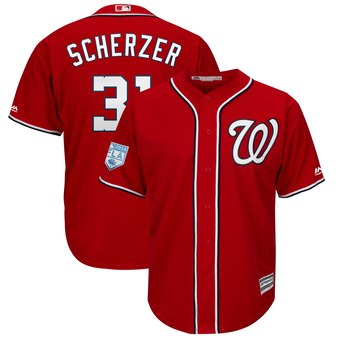 Men's Washington Nationals 31 Max Scherzer Majestic Scarlet 2019 Spring Training Cool Base Player Jersey