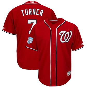 Men's Washington Nationals 7 Trea Turner Majestic Scarlet 2019 Spring Training Cool Base Player Jersey