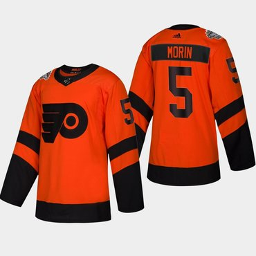 Men's #5 Samuel Morin Flyers Coors Light 2019 Stadium Series Orange Authentic Jersey