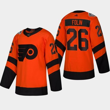 Men's #26 Christian Folin Flyers Coors Light 2019 Stadium Series Orange Authentic Jersey