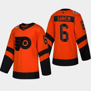 Men's #6 Travis Sanheim Flyers Coors Light 2019 Stadium Series Orange Authentic Jersey