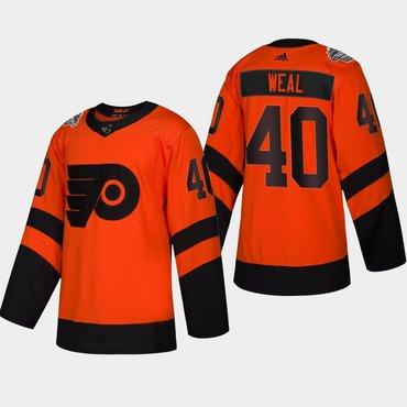 Men's #40 Jordan Weal Flyers Coors Light 2019 Stadium Series Orange Authentic Jersey