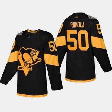 Men's #50 Juuso Riikola Penguins Coors Light 2019 Stadium Series Black Authentic Jersey