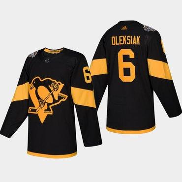 Men's #6 Jamie Oleksiak Penguins Coors Light 2019 Stadium Series Black Authentic Jersey