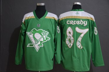 Men's Pittsburgh Penguins 87 Sidney Crosby Green 2019 St. Patrick's Day Adidas Jersey