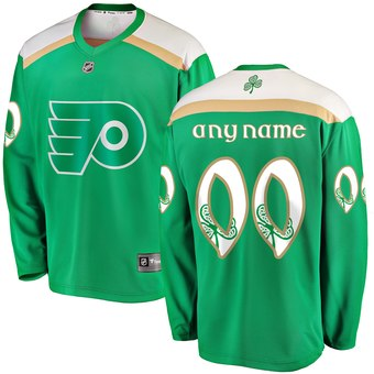 Men's Philadelphia Flyers Green Customized 2019 St. Patrick's Day Adidas Jersey